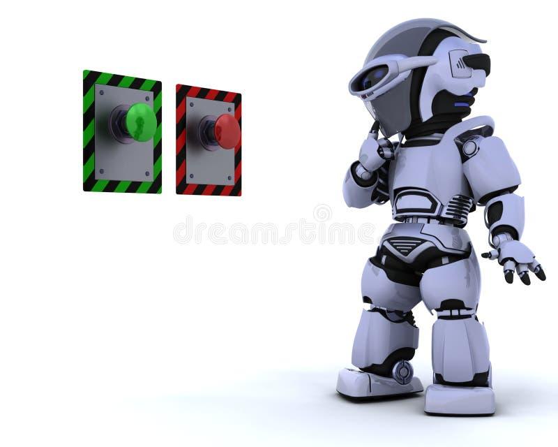Robot e pulsante illustrazione vettoriale