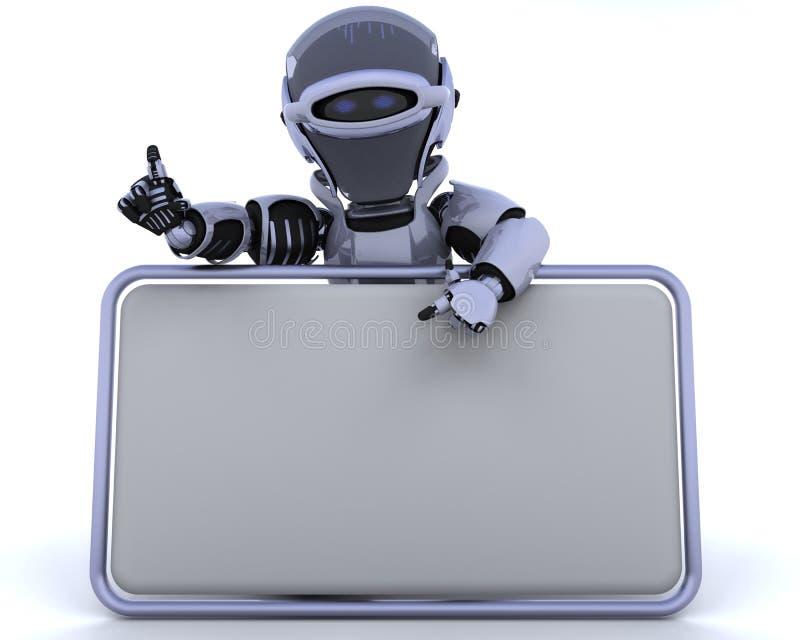 Robot e segno in bianco illustrazione vettoriale
