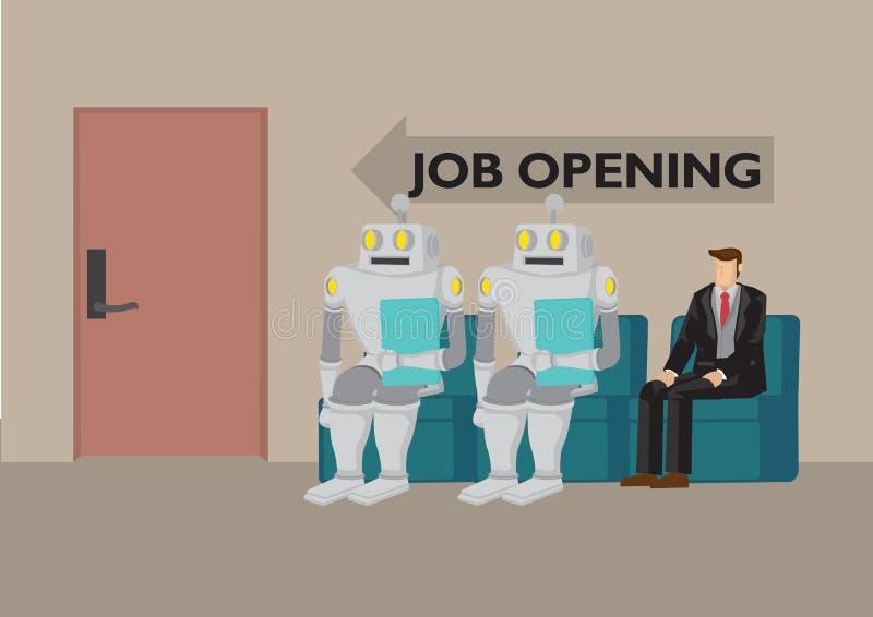 Robot e umani in cerca di lavoro Rappresenta il futuro mercato del lavoro e l'intelligenza artificiale Concetto umano contro robo illustrazione di stock