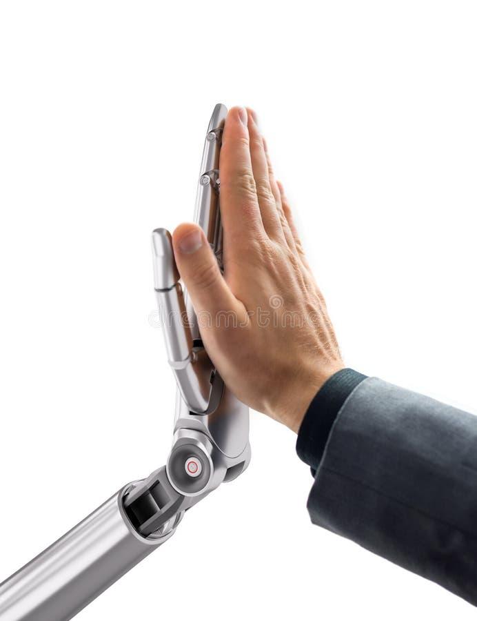 Robot ed essere umano che danno gli alti cinque Illustrazione di tecnologia di intelligenza artificiale 3d fotografie stock