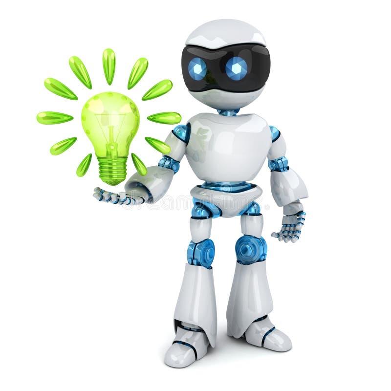 Robot ed idea astratta della lampada illustrazione di stock