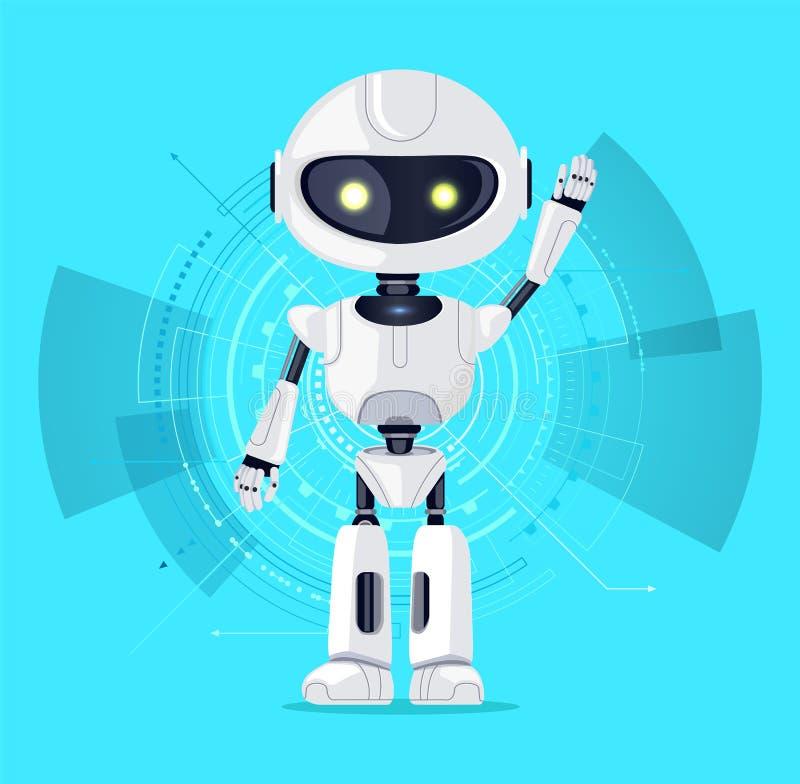 Robot ed interfaccia Azure Vector Illustration royalty illustrazione gratis