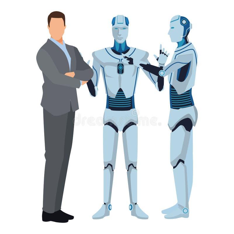 Robot ed uomo d'affari di umanoide royalty illustrazione gratis