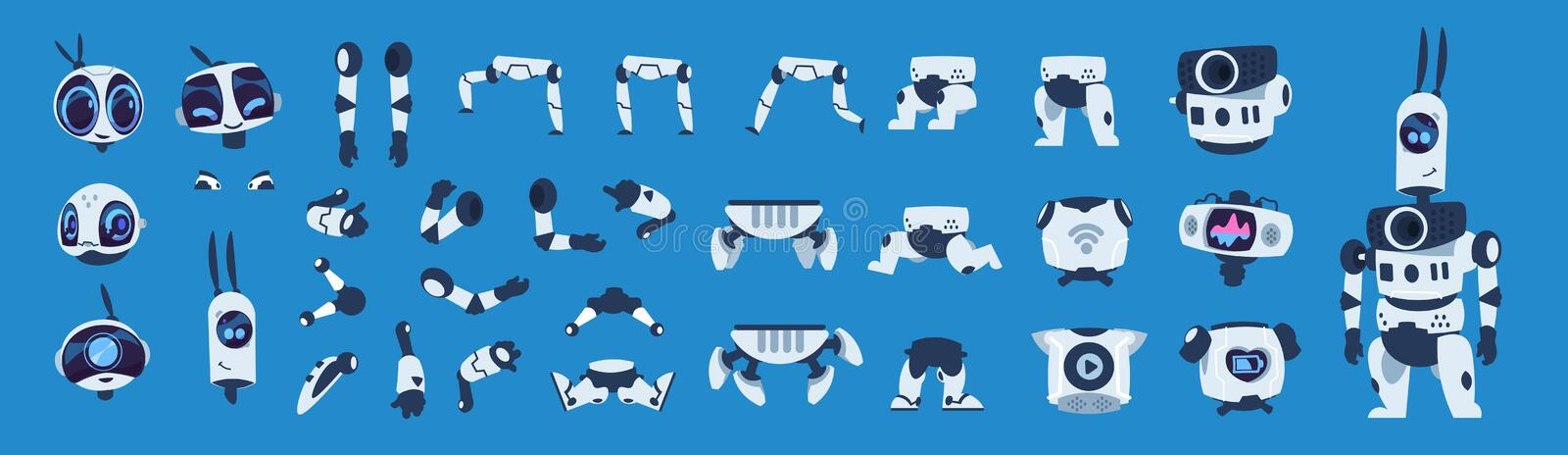 Robot elements. Cartoon android character animation set, futuristic machine constructor with different poses. Vector. Isolated futuristic cybernetic objects on stock illustration