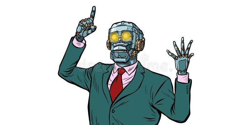 Robot emocional del altavoz, dictadura de artilugios Aislante en whi stock de ilustración