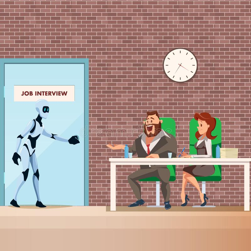 Robot Employee Walk into Door for Job Interview royalty free illustration