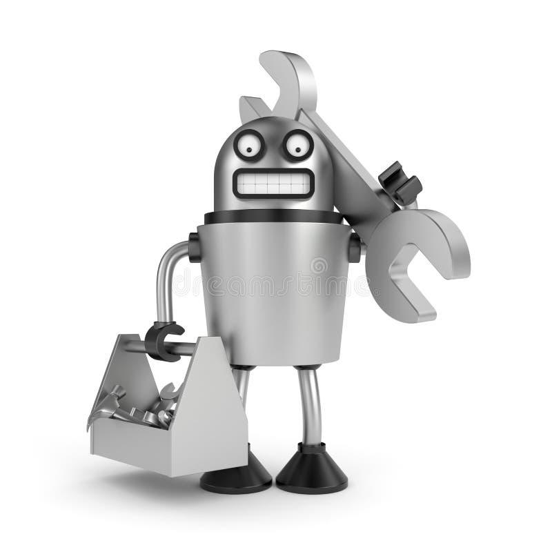 Robot en acier avec la boîte à outils illustration libre de droits