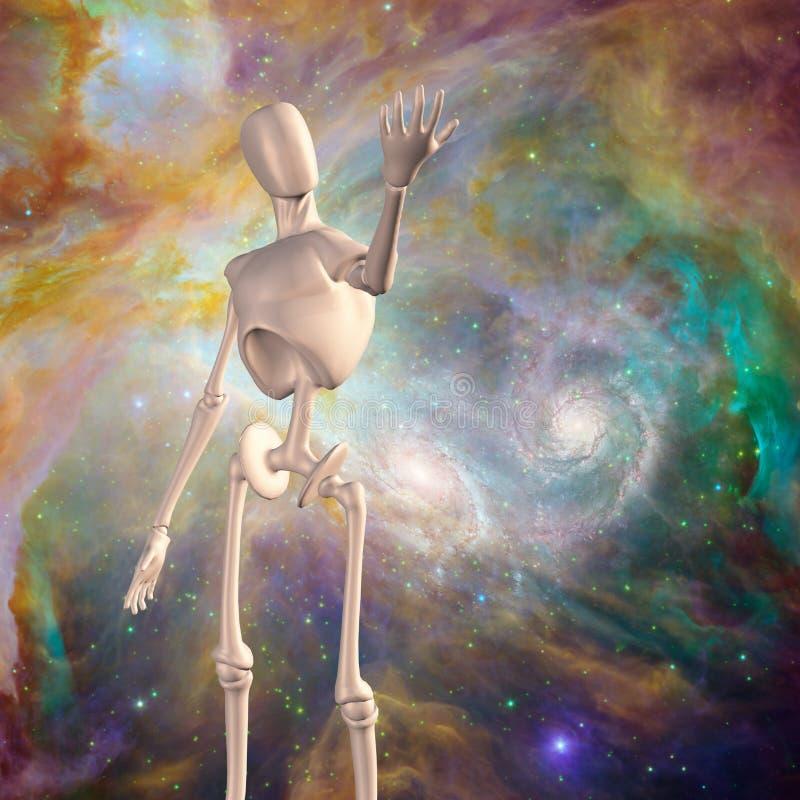 Robot en diepe ruimte stock illustratie