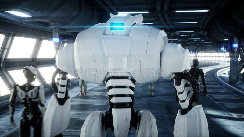 Robot en el tonnel de Sci fi Concepto de futuro representaci?n 3d libre illustration