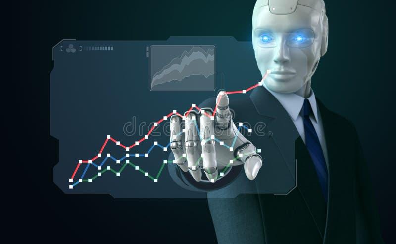 Robot en el traje que toca una carta en la pantalla libre illustration