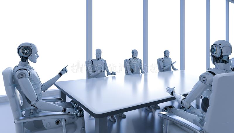 Robot en la sala de conferencias stock de ilustración