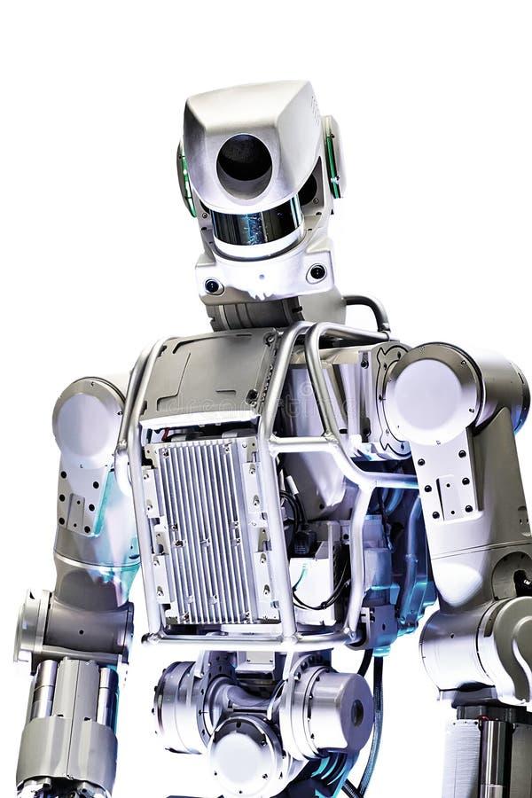 Robot en métal d'isolement sur le blanc photo libre de droits