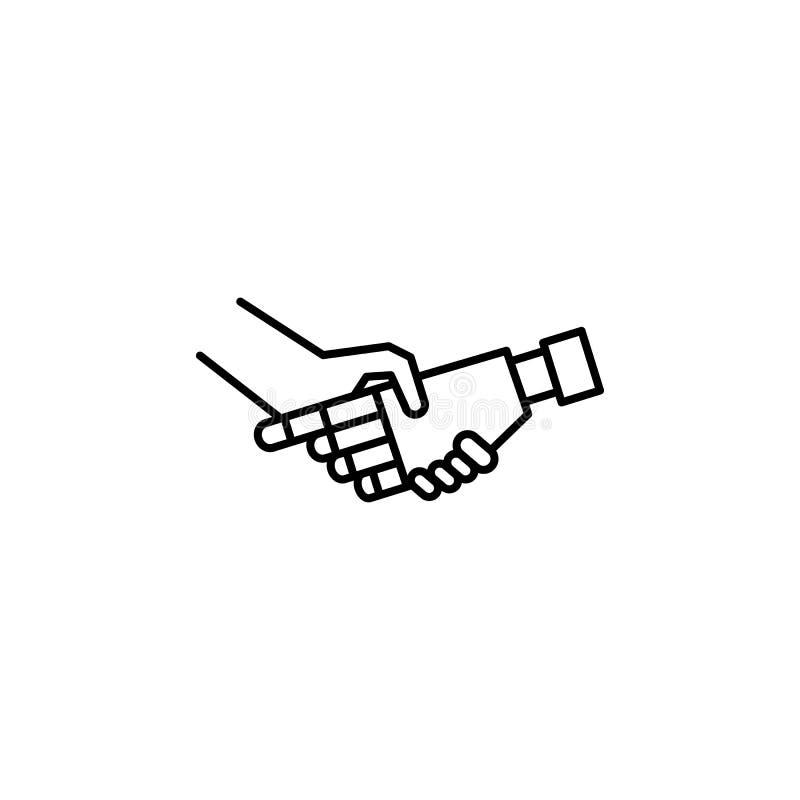 Robot en menselijk de lijnpictogram van het handconcept Eenvoudige elementenillustratie Robot en het menselijke ontwerp van het h stock illustratie