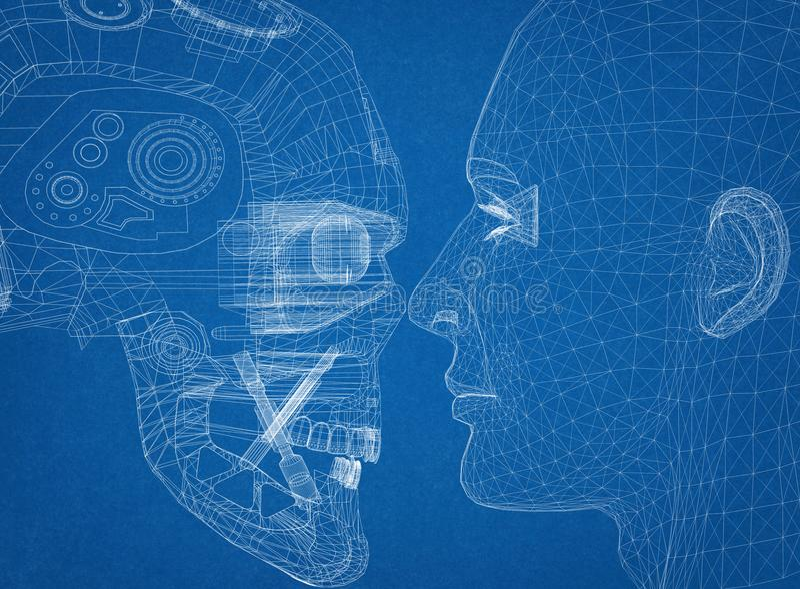 Robot en Menselijk Hoofdontwerp - Architect Blueprint vector illustratie