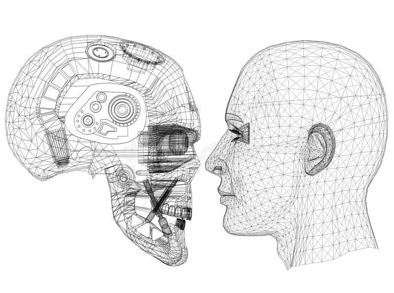 Robot en Menselijk Hoofdontwerp - Architect geïsoleerd Blueprint - royalty-vrije illustratie