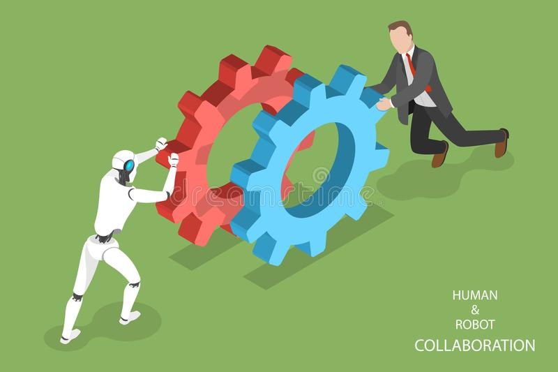 Robot en menselijke samenwerkings isometrische vector stock illustratie