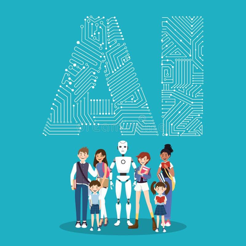 Robot en mensenkarakter op kunstmatige intelligentieconcept vector illustratie