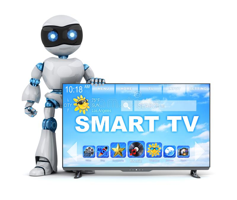 Robot en moderne slimme TV vector illustratie