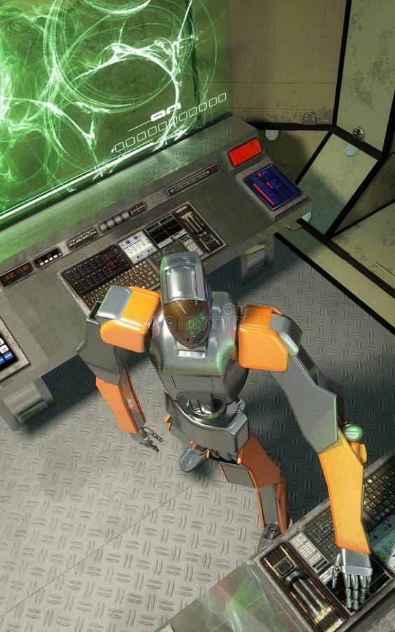 Robot en ruimteschipbinnenland royalty-vrije illustratie