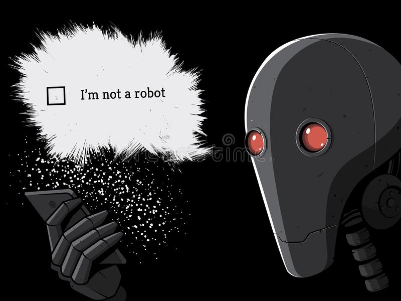 Robot en Smartphone I ` m niet een robotcaptcha Vector illustratie stock illustratie