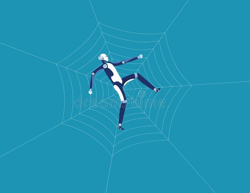 Robot en spinneweb Concepten bedrijfstechnologie vectorillustratie Vlakke ontwerpstijl vector illustratie