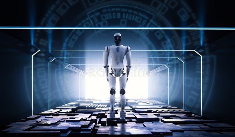 Robot en túnel stock de ilustración