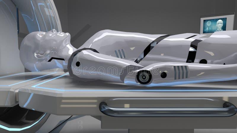 Robot en una instalación médica con la exploración futurista del cuerpo representación 3d ilustración del vector