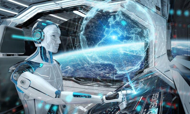 Robot en una sala de control que vuela una nave espacial moderna blanca con la opinión de la ventana sobre espacio y la represent stock de ilustración
