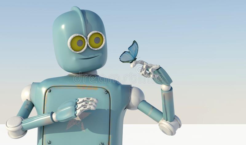 Robot en vlinder op hand een blauwe achtergrond retro stuk speelgoed en nationaal vector illustratie
