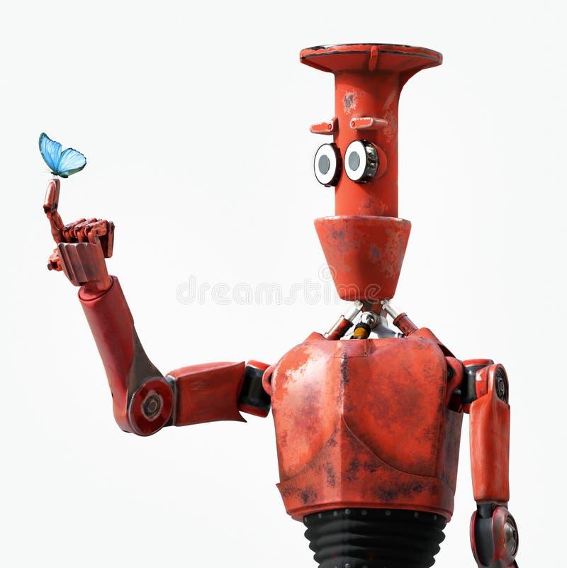 Robot en vlinder op hand retro 3d stuk speelgoed en aard, geven terug stock illustratie