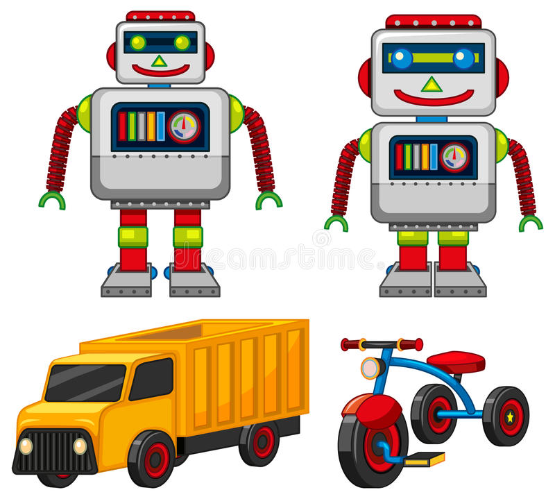 Robot en voertuigspeelgoed royalty-vrije illustratie