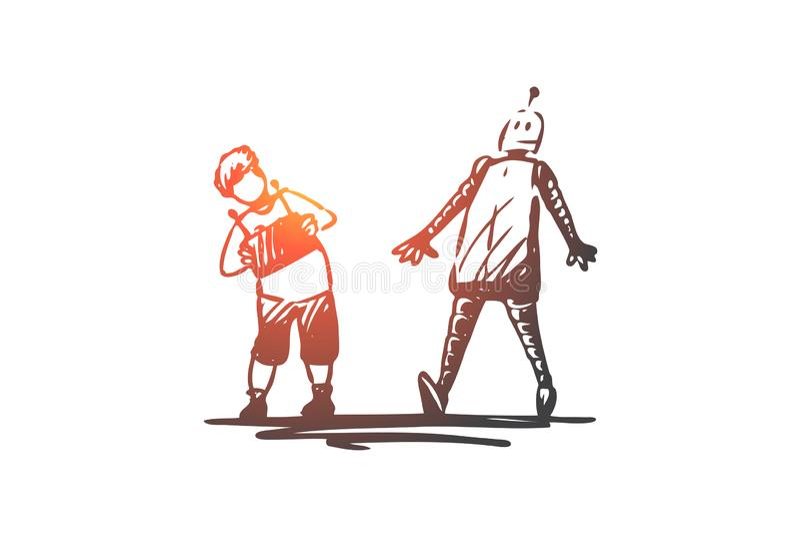 Robot, enfant, jeu, à distance, concept de contrôle Vecteur d'isolement tir? par la main illustration stock