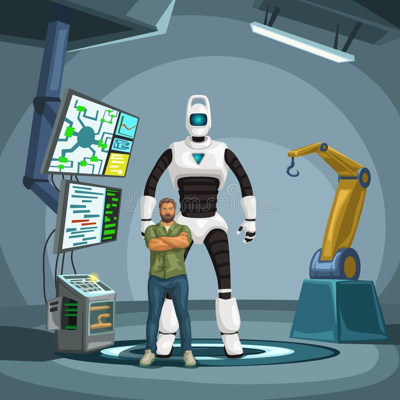 Robot engineer with cyborg in a lab. Illustration of robot engineer standing in front of cyborg in a laboratory vector illustration