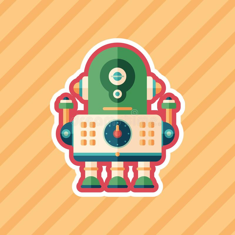 Robot engineer sticker flat icon with color background. royalty free illustration