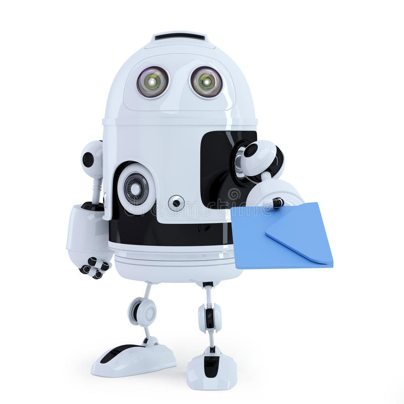 Robot with envelope. Communication technology concept royalty free illustration