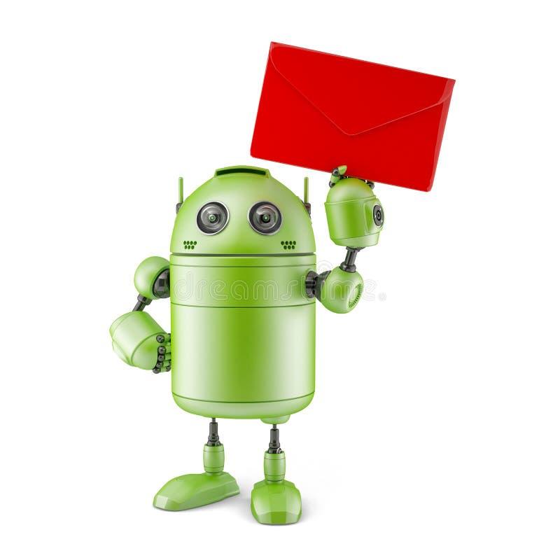 Robot with envelope. stock illustration