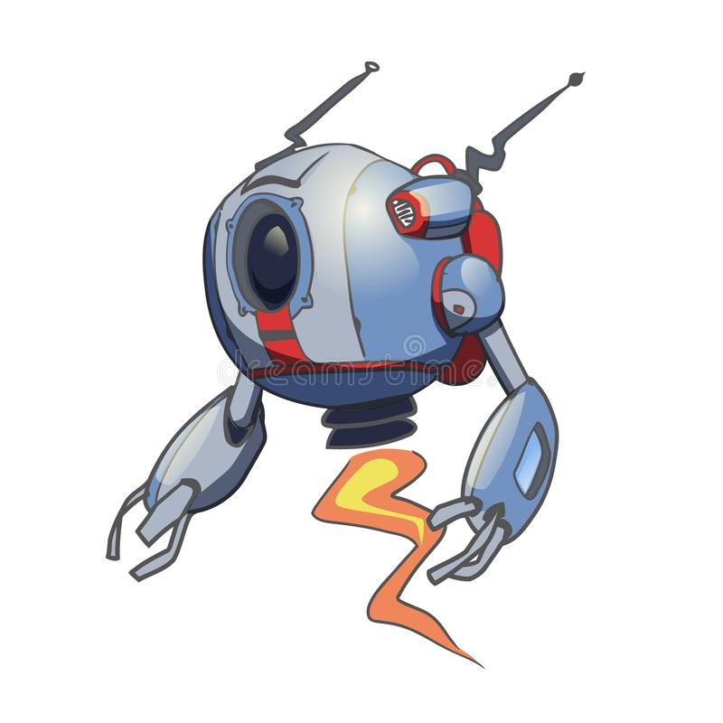 Robot esférico que vuela Ilustración del vector aislada en el fondo blanco stock de ilustración