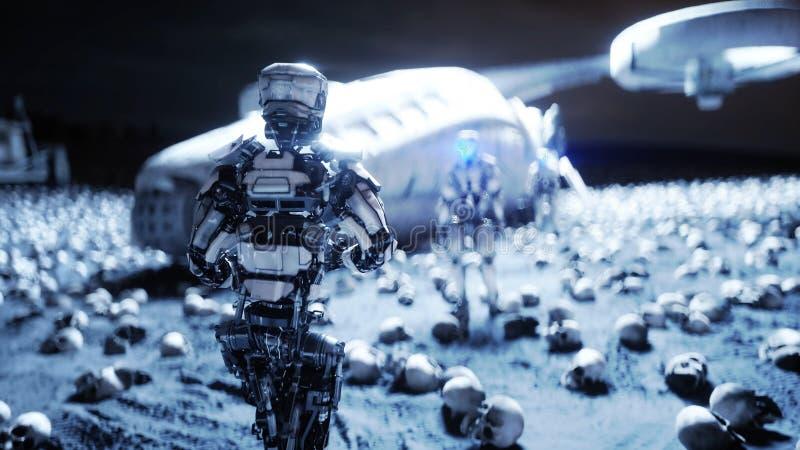 Robot et crânes militaires des personnes Concept réaliste superbe d'apocalypse dramatique Hausse des machines Contrat à terme fon illustration stock