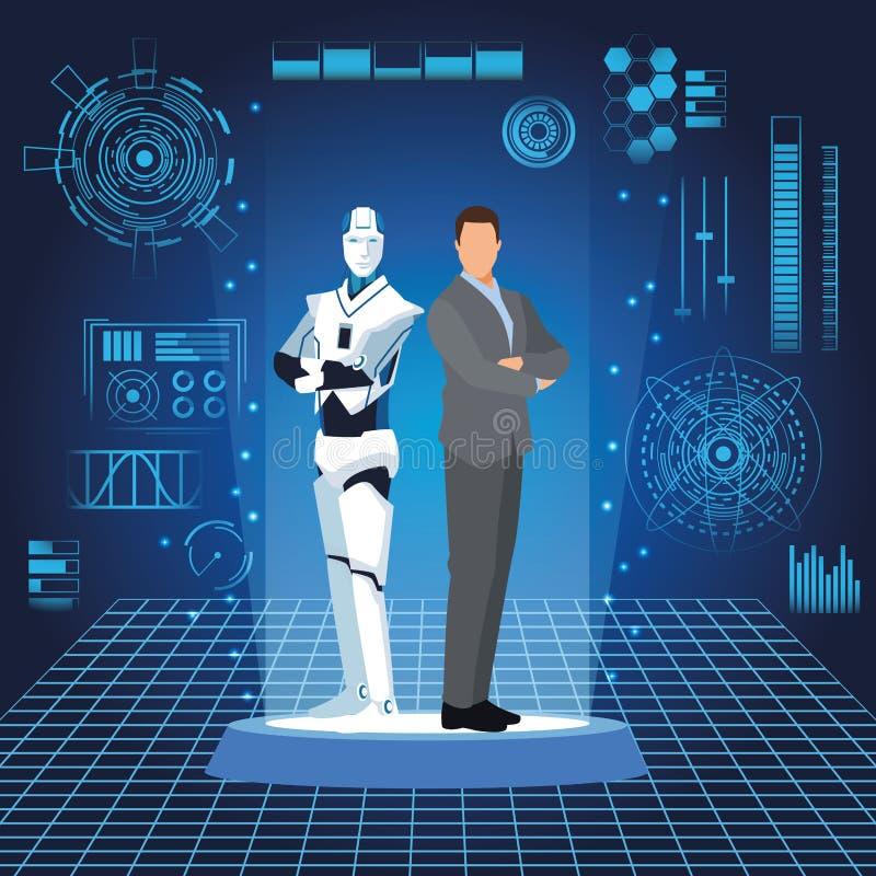 Robot et homme d'affaires de humanoïde illustration libre de droits