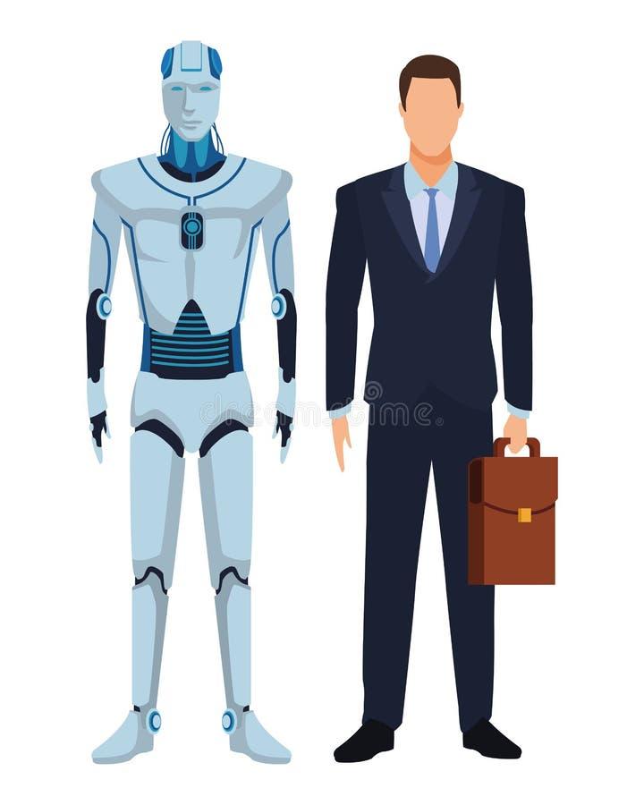 Robot et homme d'affaires de humano?de illustration libre de droits