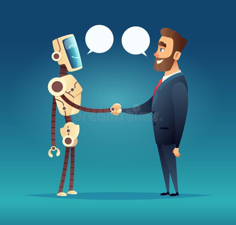 Robot et un homme salué réunion d'intelligence artificielle et d'homme d'affaires illustration stock