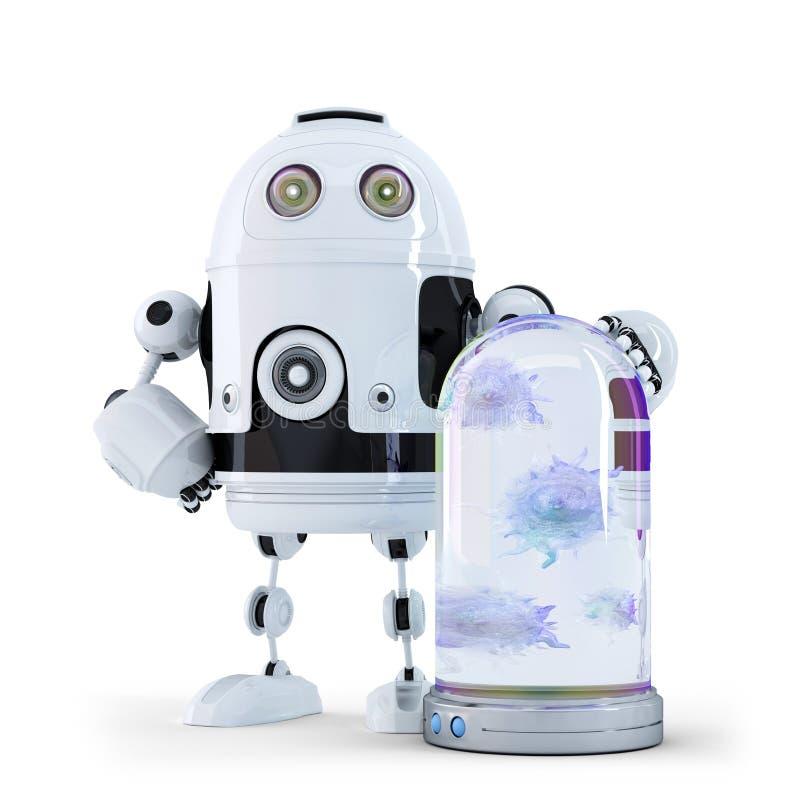 Robot et virus attrapés dans le récipient. photos libres de droits