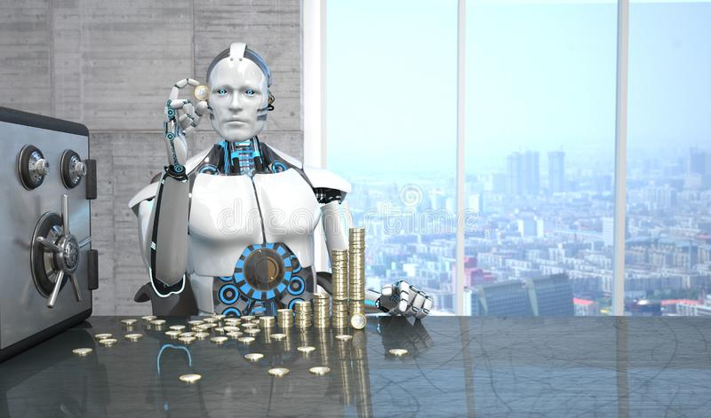 Robot Euro Coins Safe. Humanoid robot with the Euro coins and safe on the table stock illustration