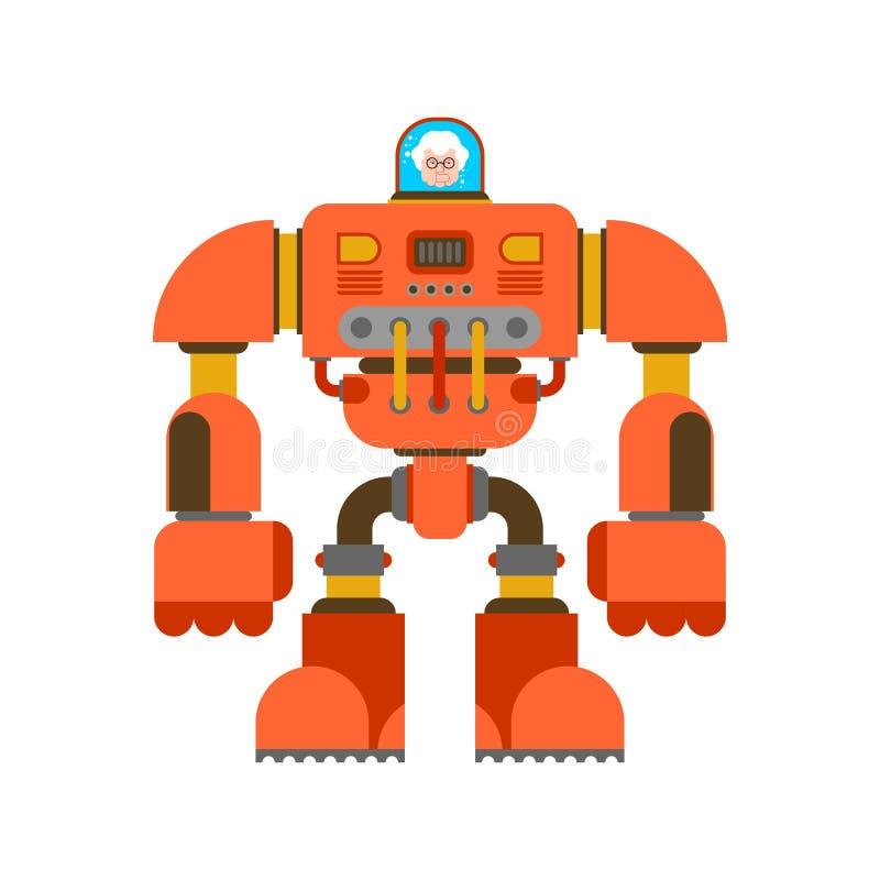 Robot Exoskeleton grandmother. Grandma Cyborg warrior future. Vector illustration royalty free illustration