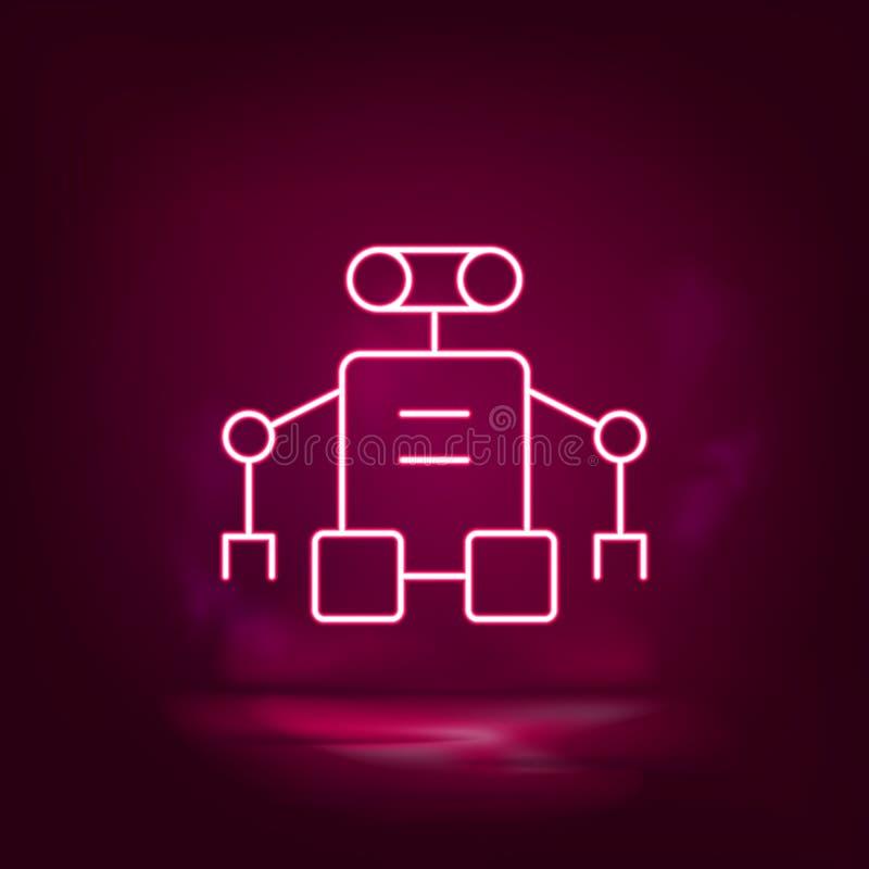 Robot, exoskeleton vector neon icon. Illustration isolated vector sign symbol stock illustration