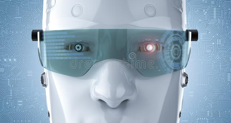 Robot with eyeglasses stock photo