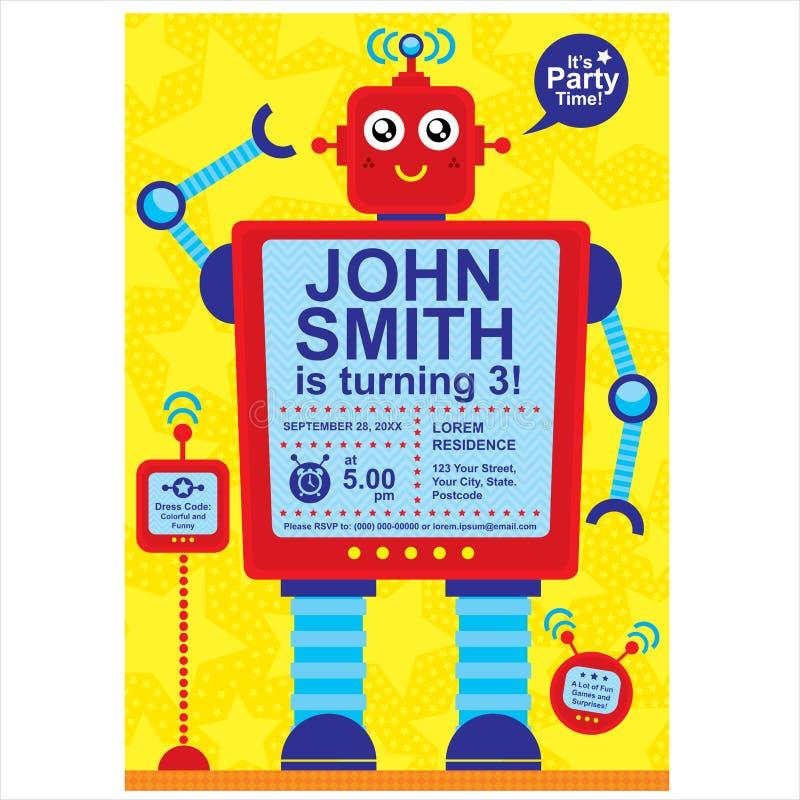 Robot för födelsedagkort stock illustrationer