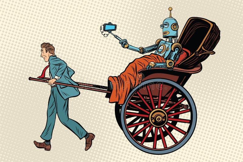 Robot för folkrickshawritt royaltyfri illustrationer