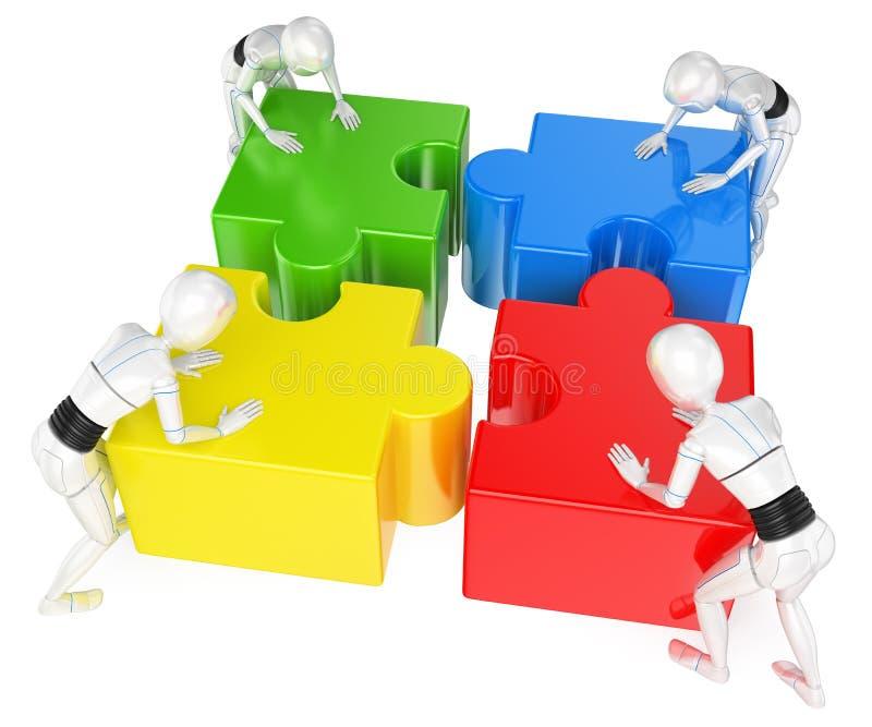 robot för Humanoid som 3D löser pusslet Teamwork vektor illustrationer