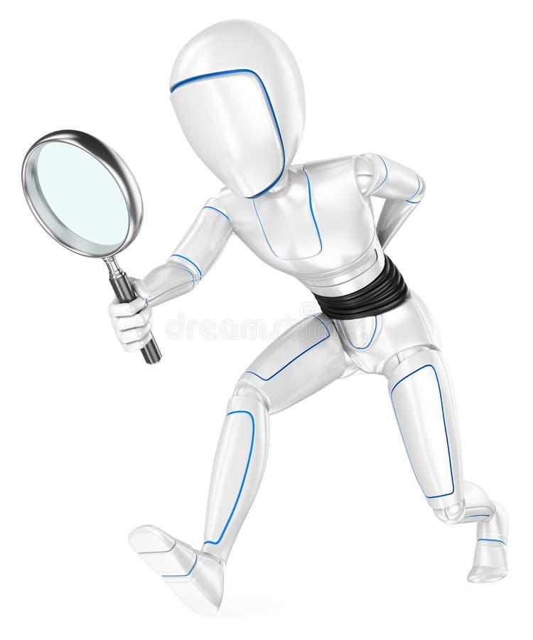 robot för Humanoid som 3D söker efter med ett förstoringsglas stock illustrationer